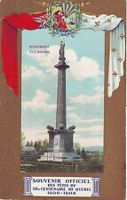 Canada Quebec 300 Year Anniversary Monument des Braves old postcard