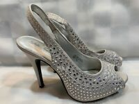 LULU TOWNSEND Blinged Sparkle Fashion High Heel Shoes Women's Size 7.5