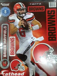 """BAKER MAYFIELD CLEVELAND BROWNS 8 PIECE FATHEAD 8""""X17"""" WALL GRAPHIC DECALS"""