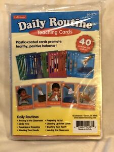 Lakeshore Daily Routine Teaching Cards Plastic Coated 40 Cards