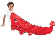 """Dragon Tail Plush & Playful Red Black Polyester Foil Scales 22.5"""" x 55"""" BLANKET"""