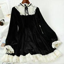 Vintage high neck lace trim gold velvet black women long sleeve dress