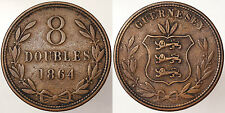 8 DOUBLES 1864 GUERNESEY #839