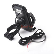 360° Motorcycle MTB Bar Mount Holder For Cell Phone USB Power Supply Charger US