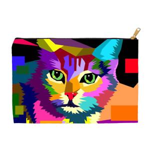 Cosmetic bag Makeup bag Pouch Accessory Cat 656 WPAP multicolor art by L.Dumas