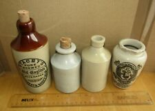 4 X ANTIQUE/VINTAGE STONEWARE BOTTLES Pearsons, Stacey's Brewed Old English ETC