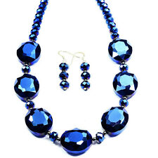 Metallic Blue Mystic Cristal Collar De Plata Esterlina & Aretes Joyas