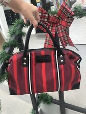 Kate Spade Red Black Stripe Fall Holiday Leather Trim Handbag Purse