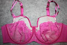 LANE BRYANT CACIQUE FISHNET LACE ILLUSION FULL COVERAGE BRA 42D Pink