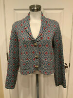 Nick & Mo Anthropologie Gray Knit Blue & Dark Pink Patterned Cardigan, Size L