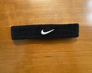 Nike Swoosh Black Headband - Unisex Black with White Swoosh