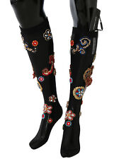 NEW $2460 DOLCE & GABBANA Socks Black Stretch Carretto Crystal Stockings s. S