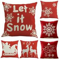 Red Snowflake Christmas Cushion Cover Festival Sofa Bed Decoration Pillowcase
