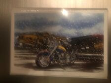 HARLEY DAVIDSON CHRISTMAS CARDS #X788 HARLEY PARKED IN SNOW BY AIRPLANE