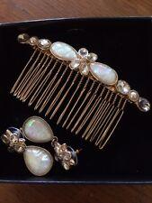 Bridal Hair Comb Pearl Crystal Opal Headpiece Hair Clip Pin & Earrings Wedding