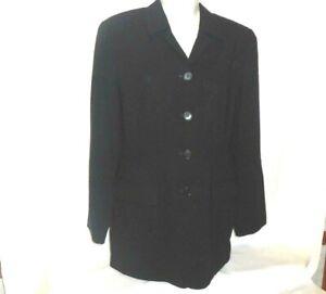 Ann Taylor Blazer Jacket Women Size 10 Black Tailored Lined Long Sleeve Career