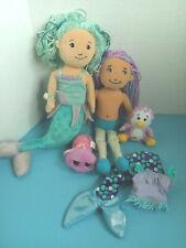 Lot of 2 Mermaid Groovy Girls Dolls w/Mini Plush Pet Animals Manhattan Toy Co.