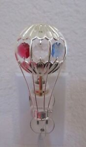 Nightlight- HOT AIR BALLOON- silver plated-crystals- red white blue