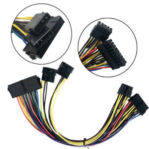 ATX PSU 24Pin + Dual Molex IDE 4Pin to 18+10pin Power Cable replace for HP Z800