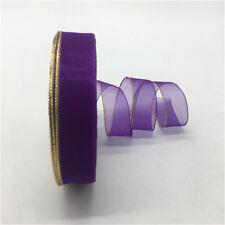 "5yards 3/4""(20mm) Glitter Golden Rimmed Organza Ribbon Bow Wedding decoration CA"