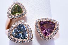 Aquamarine, Pink Tourmaline, Peridot & Diamond Ring in 18K Rose Gold