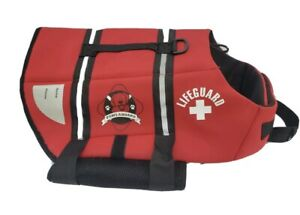 Paws Aboard Lifeguard Dog Life Jacket Vest for Swimming and Boating Red Sz M