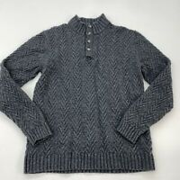 Joseph Abboud Quarter Button Up Knit Sweater Mens XL Long Sleeve Gray Wool Blend