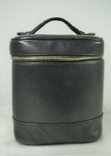 CHANEL 1990's Black Lambskin Timeless Classic Tall Vanity Case Cosmetic Bag