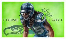 Richard Sherman Seattle Seahawks Signed Framed Painting Auto Super Bowl SB49 1/1