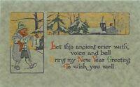 Arts Crafts New Year Saying Artist impression C-1910 Postcard 8804