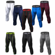 Mens Compression Capris Sports Leggings Running Basketball 3/4 Pants Tight fit