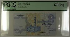 11.6.2007 Egypt Central Bank 25 Piastres Note SCWPM# 57h PCGS GEM New 67 PPQ