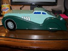 Folk Art Wood and Metal 2 door Seafoam Coupe Deco styled