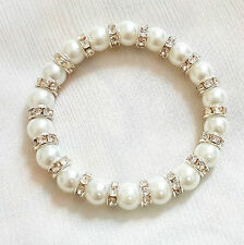 New White Pearl with Silver Plated Diamante stretchy Bracelet perfect Xmas gift