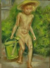 étude au pastel enfant nu à l'arrosoir 1950
