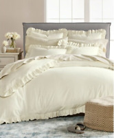 Martha Stewart Duvet Comforter Cover Luxury Portuguese Flannel Ruffle Twin Ivory