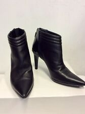 CALVIN KLEIN BLACK LEATHER HEELED ANKLE BOOTS SIZE 3.5 / 36