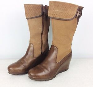 Merrell Women's US 8.5 Boots Suede Leather Dark Earth Smooth Wedgetarian Lyla