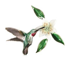 Bovano - Wall Sculpture - Tailed Hummingbird w/ Wood Lilly Flower