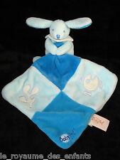 Doudou Lapin bleu avec mouchoir carré poisson luminescent Babynat' Baby Nat'
