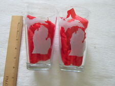 Etched Glass Beer/WaterTumblers with Map of Michigan New No Box 16 OZ.