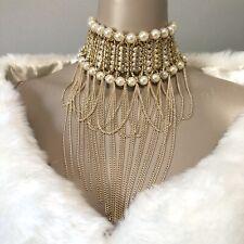 pearl gold choker necklace faux beads fringe chain body jewelry bride rhinestone
