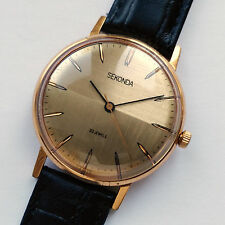 Vintage SEKONDA Ultra Slim 23 Jewels USSR Wrist watch Gold Plated 5Mc. 1980s