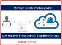 Windows Server 2016 Remote Desktop Services RDS 50 User/Device CALs Instant Ship