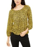 Michael Kors Women's Floral-Print Peasant Top Blouse, Yellow, Size S, $48, NwT