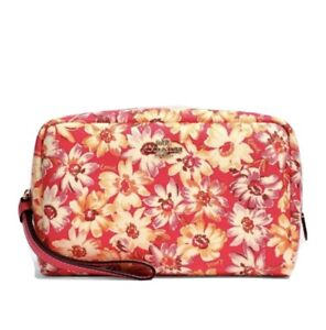 Coach Boxy Cosmetic Case With Vintage Daisy Script Print MSRP 178.00