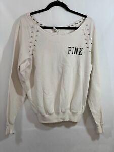 Victoria Secret PINK Srudded Distressed Oversize Off-White Sweatshirt Size S