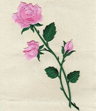 Large Pink Rose - Open - Buds on Stem - Iron on Applique/Embroidered Patch