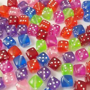 25pcs Assorted Plastic Dice Craft Beads, 8mm - B05875