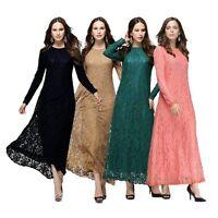 Full Lace Muslim Kaftan Islamic Long Sleeve Maxi Dress Arab Jilbab Abaya Clothes